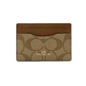 NWT Coach card holder in signature canvas